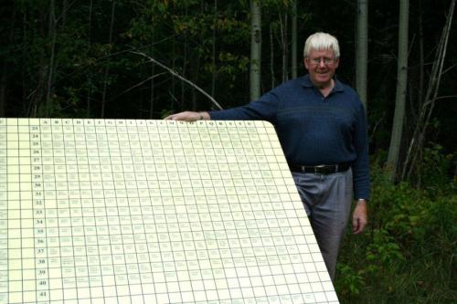 Cornelius VanEwke with Tree Lot Name Board